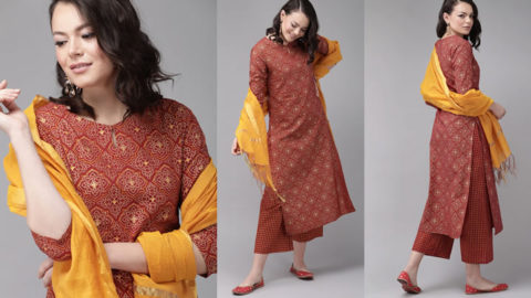 Buy Red Foil Print Straight Cotton Kurta With Palazzos & Dupatta - Buy it on Myntra. Click on Get Offer to see Final Price.